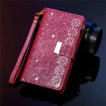 Load image into Gallery viewer, Glitter Sparkly Girly Bling Leather Flip Cover For Samsung S20 FE