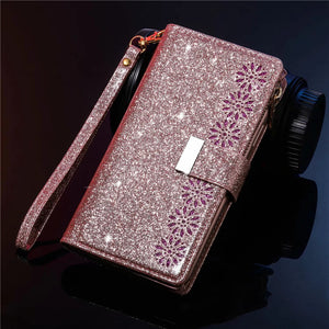 Glitter Sparkly Girly Bling Leather Flip Cover For Samsung Note10 Plus