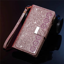 Load image into Gallery viewer, Glitter Sparkly Girly Bling Leather Flip Cover For Samsung Note Series