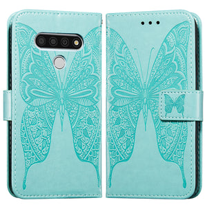3D Embossed Two-wing Butterfly Wallet Phone Case For LG