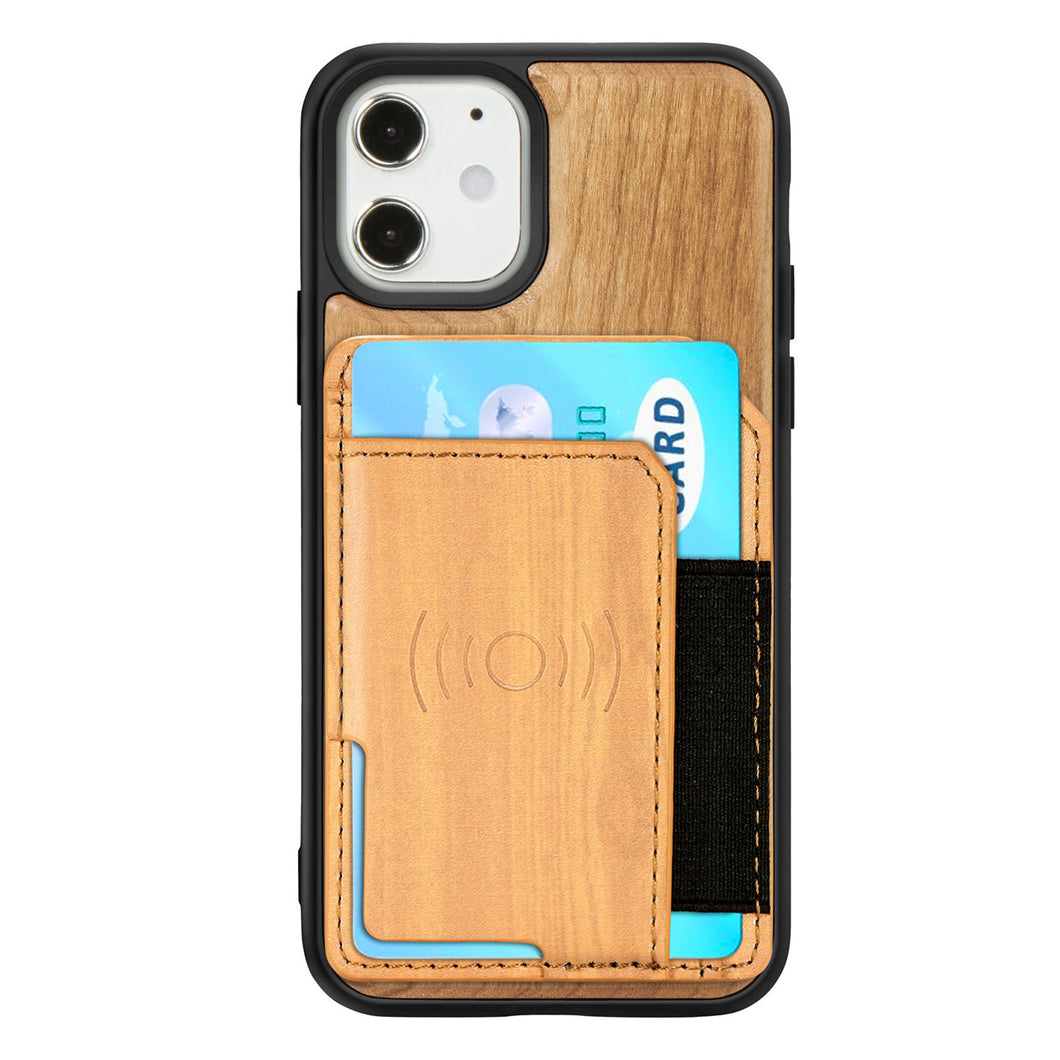 Natural Real Wood Card Phone Case For iPhone