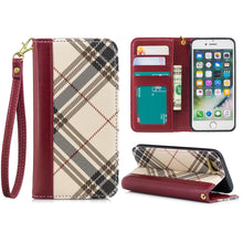 Load image into Gallery viewer, Plaid Wallet Phone Case For iPhone