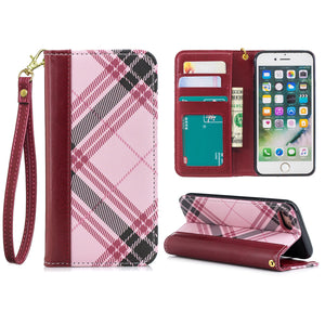 Plaid Wallet Phone Case For iPhone