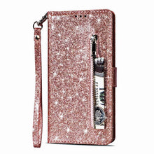 Load image into Gallery viewer, Luxury Glitter Bling Leather Zipper Pocket Case with Strap For Samsung S Series