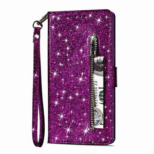 Luxury Glitter Bling Leather Zipper Pocket Case with Strap For Samsung A10E