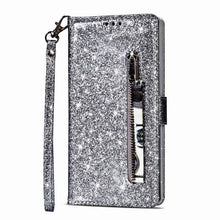 Load image into Gallery viewer, Luxury Glitter Bling Leather Zipper Pocket Case with Strap For Samsung A10E