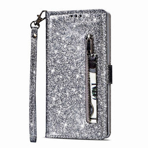 Luxury Glitter Bling Leather Zipper Pocket Case with Strap For Samsung S Series