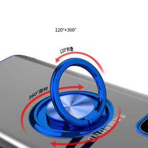 Transparent Colorful Magnetic Ring Holder Phone Case For Samsung