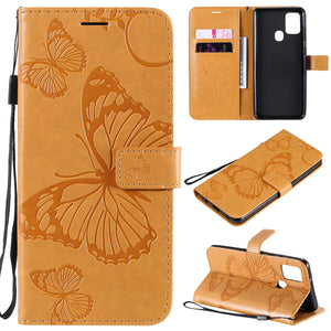 3D Embossed Butterfly Wallet Phone Case For Samsung A21S