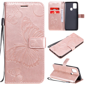 2021 Upgraded 3D Embossed Butterfly Wallet Phone Case For Samsung A21S