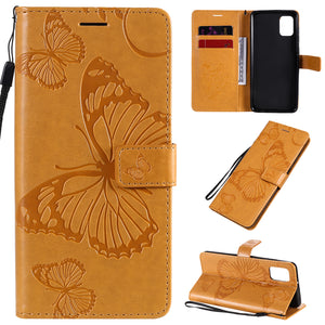 3D Embossed Butterfly Wallet Phone Case For Samsung A31