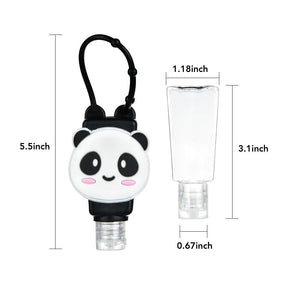 6 PCS Cartoon Silicone Hand Sanitizer Portable Keychain Empty Bottle