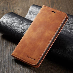 Luxury Leather Flip Wallet Case Cover For Samsung