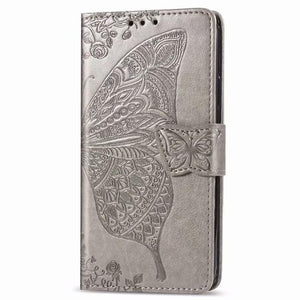 2021 Luxury Embossed Butterfly Leather Wallet Flip Case For Huawei Series
