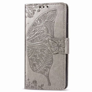 2020 Luxury Embossed Butterfly Leather Wallet Flip Case For Huawei Y6(2019)