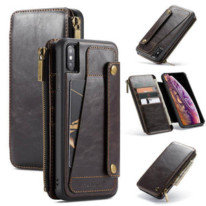 Business Zipper Wallet Detachable 2 in 1 Case For iPhone
