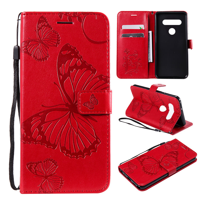 2021 Upgraded 3D Embossed Butterfly Wallet Phone Case For LG Stylo 6