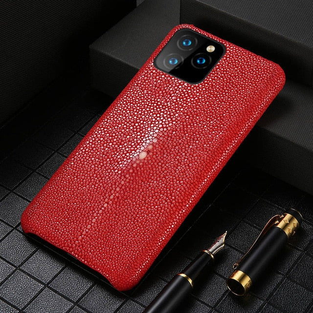 Genuine Stingray Leather Cell Phone Case for iPhone