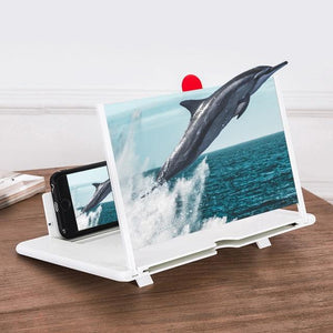 3D Phone Screen Magnifier Foldable Leather Bracket  for All Smartphone