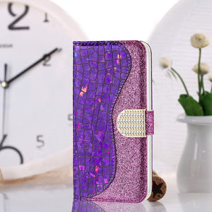Phone Bags-Laser Powder Wallet Flip Cover For Samsung