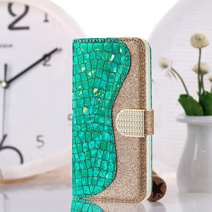 Phone Bags-Laser Powder Wallet Flip Case For Iphone