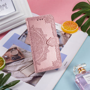 Luxury Embossed Mandala Leather Wallet Flip Case for Samsung Note20
