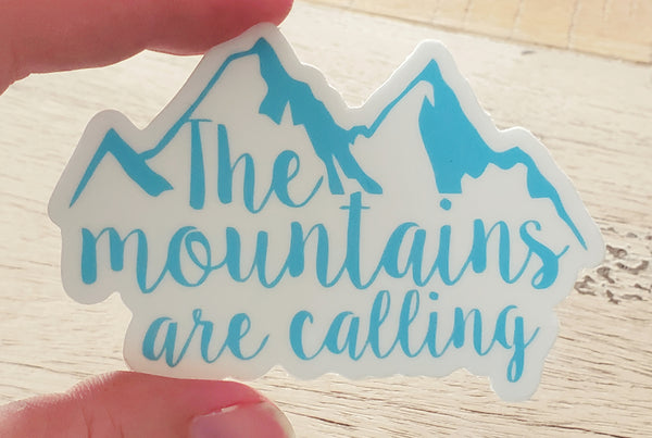 The Mountains Are Calling die-cut stickers