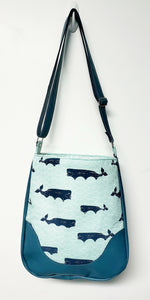 Thar She Blows Blue Whale Hobo Purse - Aqua