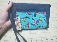 Rainbow turtles dual pocket upcycled denim clutch -- with bonus card slots and wrist straps