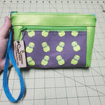 Night Light dual pocket vinyl clutch -- with bonus card slots and wrist strap