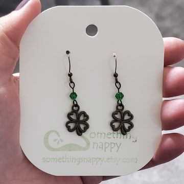Antiqued Brass Shamrock with Swarovski Crystal Earrings