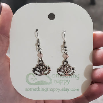 Tibetan Silver Lotus and Swarovski Crystal Earrings