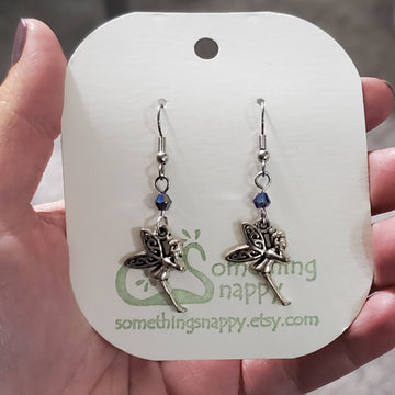 Tibetan Silver Faerie with Swarovski Crystal Earrings