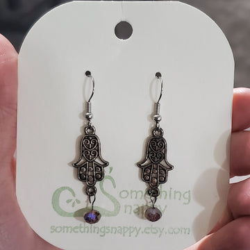 Tibetan Silver Hamsa Hands and Swarovski Crystal Earrings