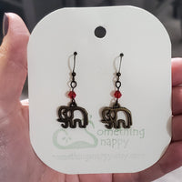 Antiqued Brass Elephant with Swarovski Crystal Earrings