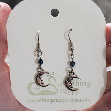 Tibetan Silver Crescent Moon and Swarovski Crystal Earrings