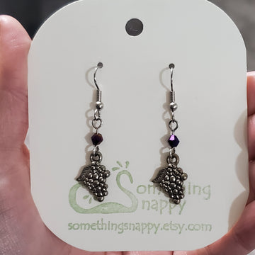 Tibetan Silver Grape with Swarovski Crystal Earrings