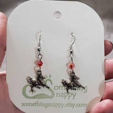 Tibetan Silver Horse and Swarovski Crystal Earrings