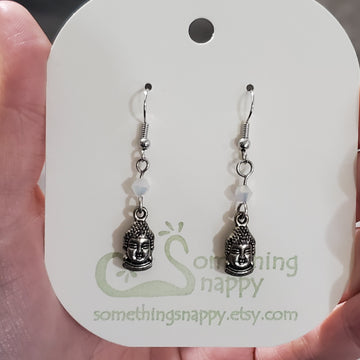 Tibetan Silver Buddha and Swarovski Crystal Earrings