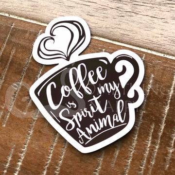 """Coffee is my spirit animal"" die-cut magnets"