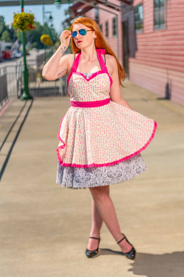 Pink Floral Pin-up Apron