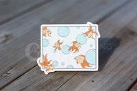 """3 seconds"" goldfish die-cut stickers"
