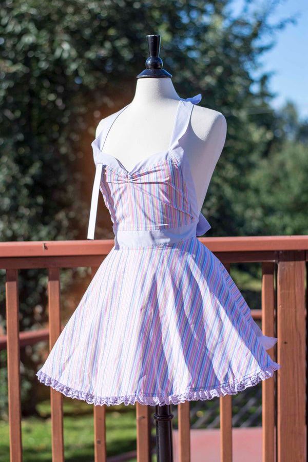 Pastel Sparkle Stripe Pin-up Apron