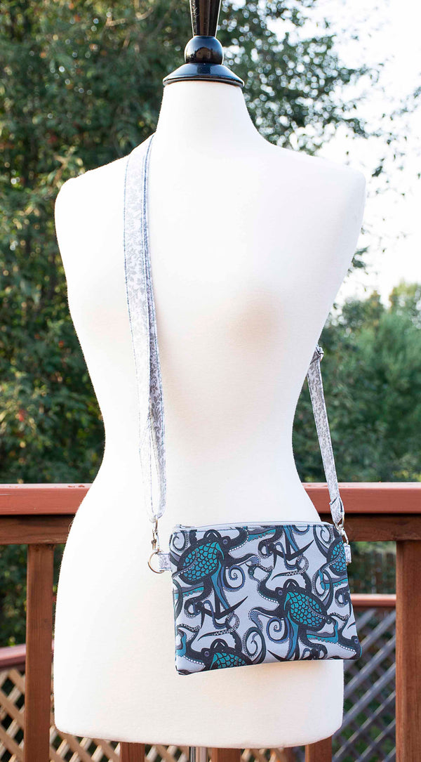 Octopus Ink - Grey & Teal Crossbody Purse