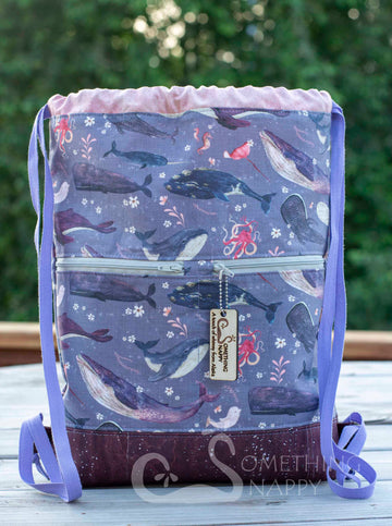 Whale's Song Drawstring Backpack - Lavender