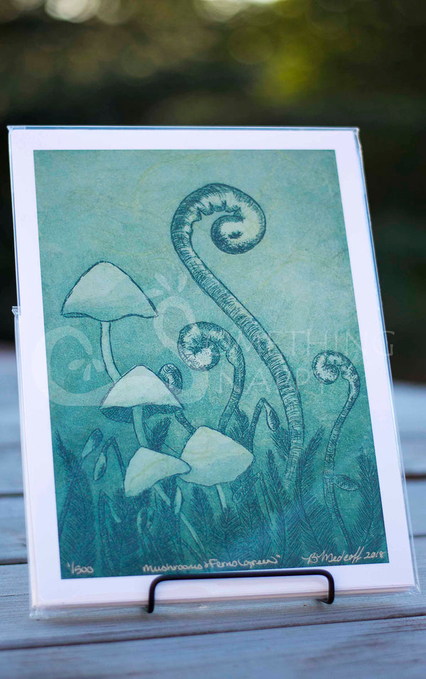 Mushrooms and Ferns (green) giclee prints