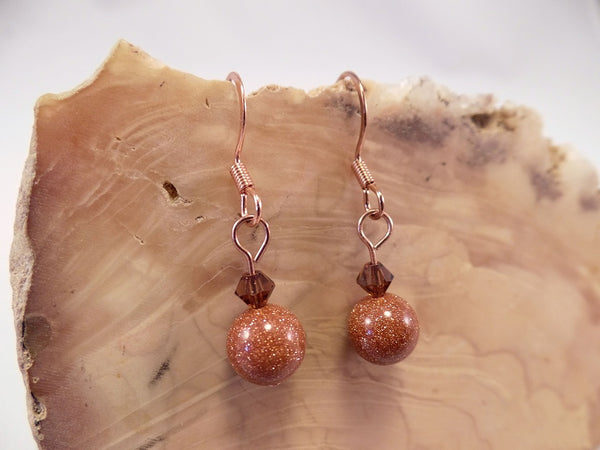 Goldstone and Swarovski Crystal Earrings