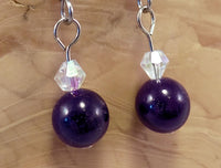 Amethyst Jade and Swarovski Crystal Earrings