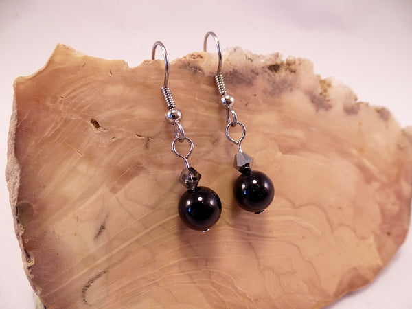 Obsidian and Swarovski Crystal Earrings