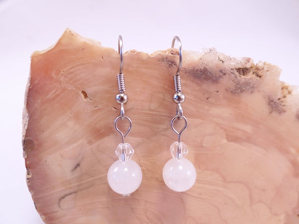 White Quartz and Swarovski Crystal Earrings